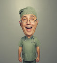 Laughing bighead doctor in uniform Royalty Free Stock Photo