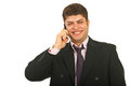 Laughing business man by phone mobile Stock Photo