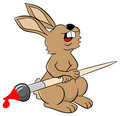 Laughing easter bunny with brush vector illustration of a Stock Photos