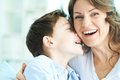 Laughing family of ecstatic mother and son Royalty Free Stock Image