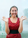 Laughing girl in wet clothes Stock Photos