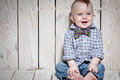 Laughing happy stylish kid in bow tie Stock Images