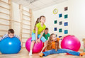 Laughing kids in a gym Stock Photography