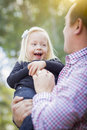 Laughing Little Girl Having Fun With Daddy Outdoors Royalty Free Stock Photo