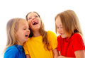 Laughing little girls three beautiful isolated on white Royalty Free Stock Photography