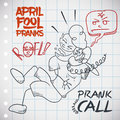 Laughing man doing a prank call in april fools day vector illustration funny the roof while he does to friend Stock Images