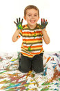 Laughing messy kid boy Stock Images