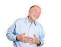 Laughing older man closeup portrait of senior mature mirthful business employee doubled over isolated on white background positive Stock Photo
