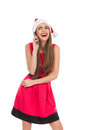 Laughing Santa girl on the phone Royalty Free Stock Photo