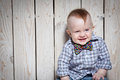 Laughing stylish kid happy in bow tie Royalty Free Stock Images