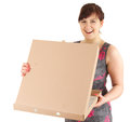 Laughing teenage girl with box of pizza Stock Image