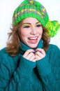 Laughing winter girl portrait Stock Photography