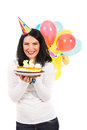Laughing woman with birthday cake holding and balloons isolated on white background Stock Photos
