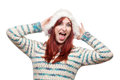 Laughing woman in furry winter hat Royalty Free Stock Photos