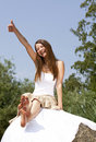 Laughing woman posing thumbs up Royalty Free Stock Photo