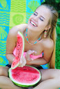 Laughing young woman with watermelon Royalty Free Stock Photo