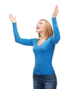 Laughing young woman waving hands happiness and people concept Royalty Free Stock Photos