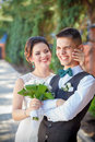 Laughter at the wedding bride groom Royalty Free Stock Images