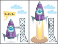 Launch comics about rocket taking off no transparency and gradients used Stock Photo