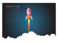 Launch space rocket flying on white background, Paper art style for start up business concept.