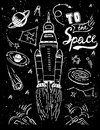 Launch space rocket. Vector illustration Cosmic sketch hand drawn elements set isolated and quote - To The Space Royalty Free Stock Photo