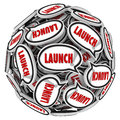 Launch word speech bubbles spreading buzz new business company in in a sphere to illustrate and of mouth about a store or Stock Images