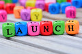 Launch word on table Royalty Free Stock Photo
