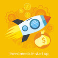Launching new product start up rocket idea icon investments in or service in flat design on the stylish colored Royalty Free Stock Images