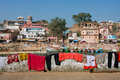 Laundered clothes and underwear drying madhya pradesh india on the fence in the beautiful indian town background in chitracoot Stock Photography