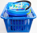 Laundry basket with buckets and clothespins Royalty Free Stock Images