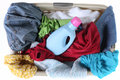 Laundry Basket Full of Dirty Clothing Top View Royalty Free Stock Photography