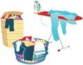 Laundry basket and ironing board