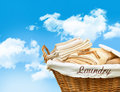 Laundry basket with towels Royalty Free Stock Photo
