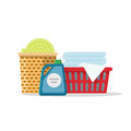 Laundry on baskets vector illustration, flat carton linen stack for washing, towels folded