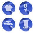 Laundry bulb tap garbage bin icon Stock Images
