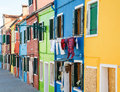 Laundry on burano homes colorful in italy near venice Royalty Free Stock Photography