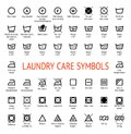 Laundry Care symbols. Cleaning icons set