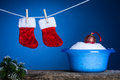 Laundry Christmas service Stock Photography