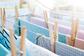 Laundry clamps drying with wooden Stock Photos