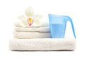 Laundry clean and fresh on white background Stock Photos