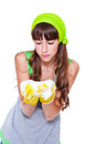 Laundry detergent froth teenage girl holding in hands Stock Image
