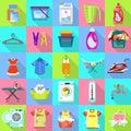 Laundry icon set, flat style
