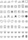 Laundry icons collection black on white illustration featuring of grey or symbols with reflection background labels for washing Royalty Free Stock Image