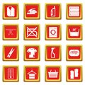 Laundry icons set red