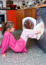 Laundry kid problems Royalty Free Stock Photo