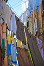 Laundry lines in venice typical italy Stock Photo