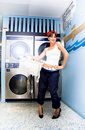Laundry Mat Woman Royalty Free Stock Photo