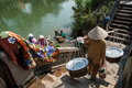 Laundry in the perfume river vietnam a group of unidentified women do their on january hue Stock Photos