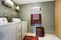 Laundry room interior dark with white appliances and wicker basket Royalty Free Stock Image