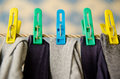 Laundry on a rope indoors Stock Photography